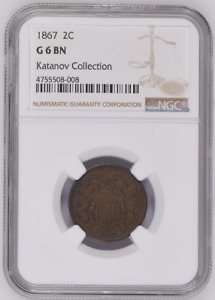 NGC G6 BN 1867 2C SHIELD TWO CENTS