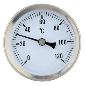63mm Hot Water Pipe 120º Stainless Steel Thermometer Temperature Temp Gauge M