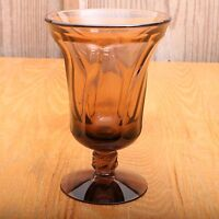 Brown Glass Swirl Pattern Wine Goblet Footed Water Vintage