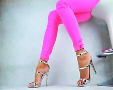 Neu Designer Luxus METALLIC Sexy Damenschuhe Peep-Toes High Heels Pumps 36/41