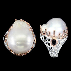 Natural Baroque White Pearl 23x19mm Black Spinel 925 Silver Big Ring Size 10 Nr