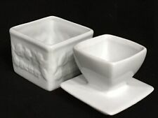 French Butter Keeper Farmhouse Butter Keeper Dish Crock White Embossed Country