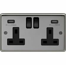 13 AMP SWITCHED DOUBLE SOCKET OUTLET WITH DOUBLE USB SOCKETS BLACK NICKEL
