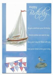 Happy Birthday Greetings Card Sailboat Blue For Friend/Him/Her by Cards For You
