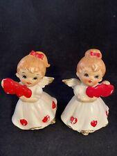 Vintage Lefton Angel Girls Figurines Pair/2 #7699 Valentine's Day Hearts