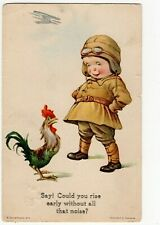 Vintage CH Twelvetrees artist signed postcard, seaside humour, airman, cockerel