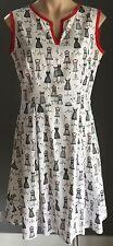 "Vintage Pattern White, Black & Red  ""Dressmakers Mannequin"" Print  Dress Size 14"