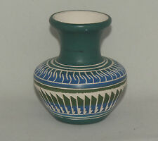 Native American Blue with Black and White Etched Vase by Jonathan Davis, Navajo