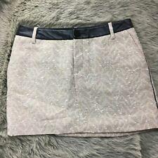 Zadig & Voltaire Beige Tan Silver Metallic Knit Leather Trim Skirt Sz 36 Cotton