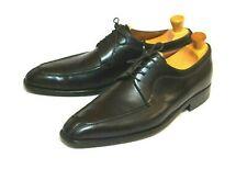 "a.Testoni Mens Black Leather Split-toe Lace-up Shoes Size 9/8.5EU  ""BLACK LABEL"""