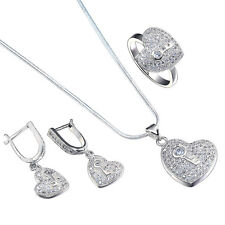 925 Silver Sterling Jewelry Set Gemstone Rhinestone Party Ring Necklace Earrings