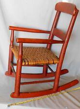 Antique child's rocking chair rocker red painted splint seat maple rush c.1880