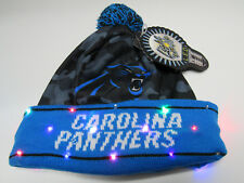 Carolina Panthers NAME NFL LED Light Up Hat Winter Pom Beanie Knit Cap 8350240c2