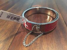 New Genuine COACH Half Inch Enamel Bangle (90509 - Silver Cardinal Red) NWT