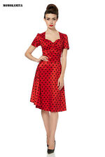 1950s Voodoo Vixen Vintage Polka Dots Dress Dra2430 Uk8 Size Small Red