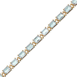 15 cttw Green Amethyst Tennis Bracelet in Yellow Gold Plated Brass Emerald Cut
