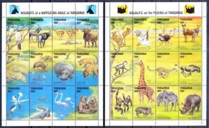 Tanzania 1993 MNH 2 SS, Animals, Birds, Reptiles at Watering Hole