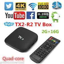 TX2-R2 Android 6.0 TV Box 2GB+16GB Quad Core 4K BT2.0 WIFI SET-TOP BOX UK Plug