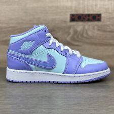 Nike Air Jordan 1 Mid GS Purple Aqua UK 5 US 5.5Y White