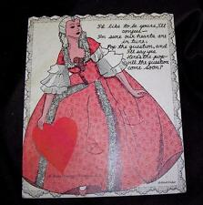 VTG 1930'S LG E ROSEN USED VALENTINE CANDY LOLLIPOP / SUCKER CARD, LOVELY LADY