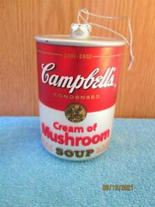 CAMBELL'S CAN OF SOUP CREAM OF MUSHROOM RED & SILVER GLASS CHRISTMAS ORNAMENT