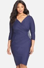 NEW Alex Evening Plus Size 24W Navy Blue Side Ruched Dress, Retail $258