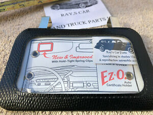 NEW UNIVERSAL SUN VISOR VINTAGE STYLE AUTO CERTIFICATE / REGISTRATION HOLDER !