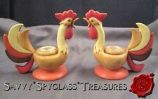 Vintage Pair Holt Howard Coq Rouge Figural Rooster Candle Holders