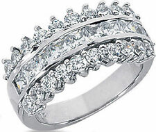 2.48 carat Princess & Round Diamond Ring 14k Gold Anniversary Band F color VS
