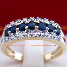 Genuine Natural Diamonds Sapphire Solid 9k Yellow Gold Engagement Wedding Rings