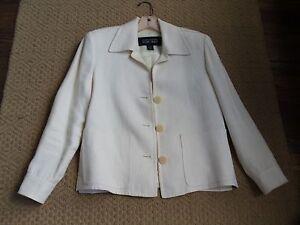 Ivory Linda Allard ELLEN TRACY Linen/Silk Jacket  Sz 4