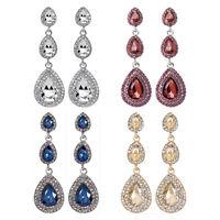 Pierced Lovely Crystal Tear Drop Cluster Sparkling Diamante Dangle Earrings A338