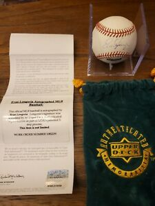 EVAN LONGORIA AUTOGRAPHED BASEBALL. UPPER DECK AUTHENTICATED with Bag
