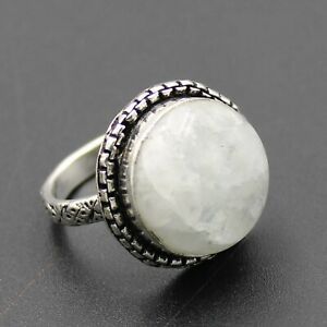 925 Silver Plated Rainbow Moonstone Handmade Ring Size 9 US Jewelry RJ176-63