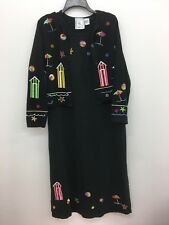Michael Simon Lite Large Black 2 pc Beach Scene Crop Sweater and Long Dress