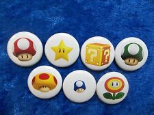 "1"" pinback button set inspired  by ""Super Mario Brothers Power Ups"" Nintendo Nes"