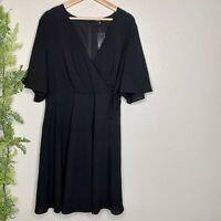 NWT Torrid Stretch Georgette Faux Wrap Skater Dress Black Stretch Plus Size 16
