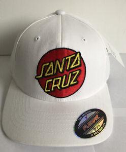 Santa Cruz Cap BNWT White Red Patch Logo Cotton Baseball Flexfit One Size Skate