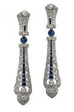 Grandiozo 1920's Deco Platinum Diamond Sapphire Super Long Antique Earrings 25K