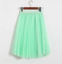 Women Summer Tutu Skirt Pleated 3 Layers Tulle Midi Skirt High Waist Petticoat