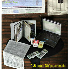 1/6 Dolls House Miniature Newspaper Magazine Cigarette Laptop Dollar DIY Model