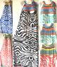 PLUS SIZE Women Long Maxi summer beach party boho evening zebra casual sundress