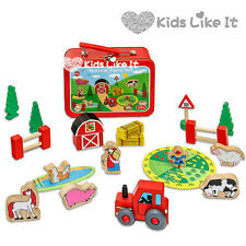 Tin Box KIDS Wooden Tractor FARM Animals Pretend PLAY Set Educational TOY Gift