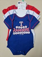 *NWT- MLB - BABY BOY'S TEXAS RANGERS 3-PC BODYSUITS SET- OFFICIAL - 0-3M, 6-9M