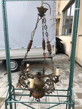 Alte Hängelampe H 104 cm Messing Metall Holz XX
