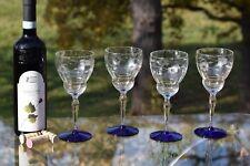 Vintage Etched with Cobalt Blue Wine Glasses, Set of 4, circa 1950