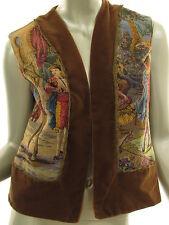 Vintage 70s SUZETTE Fashion Tapestry Brown Velveteen Lined Vest Womens Size M