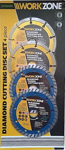 WORKZONE DIAMOND CUTTING WET AND DRY ANGLE GRINDER 125MM DISC SET x4