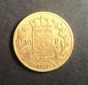 🔆 France Monnaie OR 20 FRANCS LOUIS XVIII 1817 A Paris TTB Napoléon 🔆