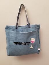 """MACY'S BOW & DRAPE DENIM TOTE BAG """"WINE NOT"""" and Wine Glass in Sequins"""